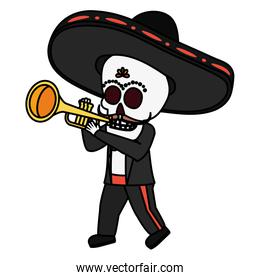 mexican skull mariachi playing trumpet