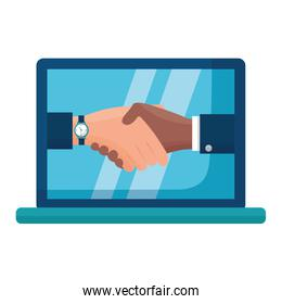 handshake people laptop computer flat design