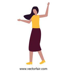 young woman character standing on white background