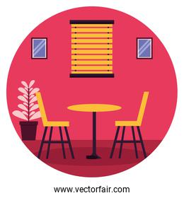 table chairs window plant pot furniture sticker