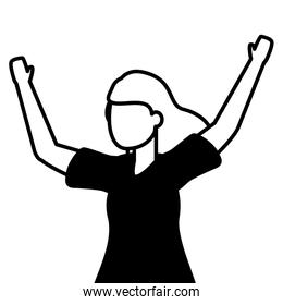 celebrating woman with arms up