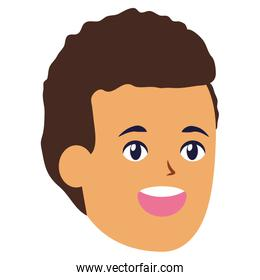 smiling man face character white background