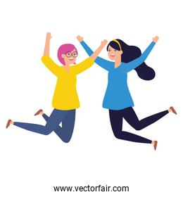 celebrating women happy jumping characters