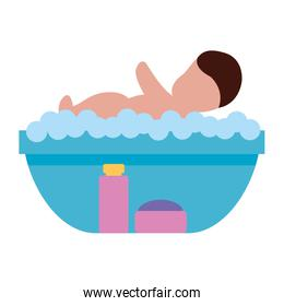 baby washing in soapy water shampoo