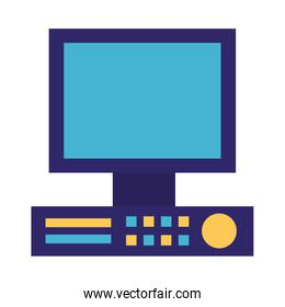 computer monitor device on white background