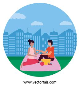 couple eating picnic romantic in the city park