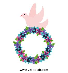 romantic pigeon with wreath flowers decoration