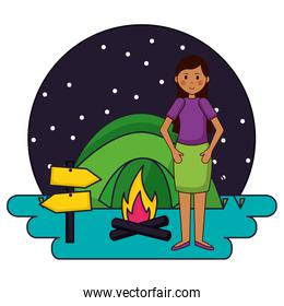 woman in the camping tent campfire night