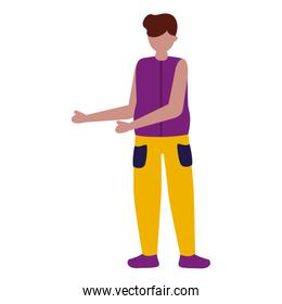 young man character avatar white background