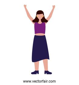celebrating woman young happy character
