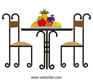 restaurant elegant table with fruits