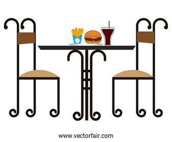 restaurant elegant table with fast food