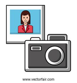 camera photographic with picture of woman