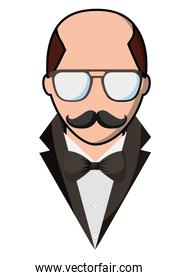man bald with mustache and glasses hipster style