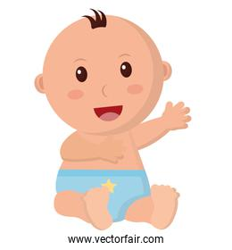 baby boy with diaper isolated icon