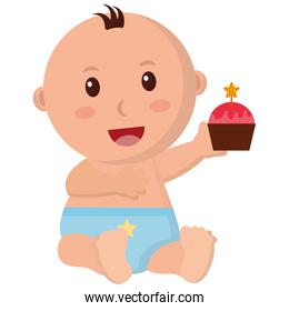 baby boy with diaper and cupcake in hand
