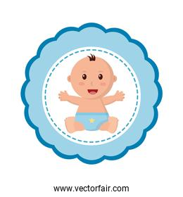 baby boy with diaper in lace icon