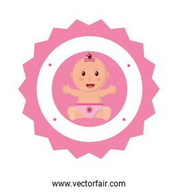 baby girl with diaper in lace icon