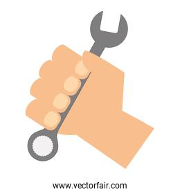 hand with wrench tool