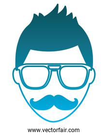 man with mustache and glasses hipster style