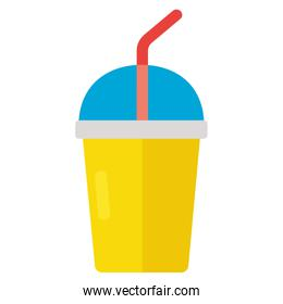 disposable cup soda with straw on white background