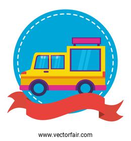 food truck on white background sticker ribbon
