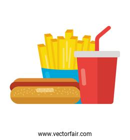 fast food hot dog french fries and soda