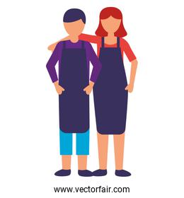 faceless seller man and woman characters