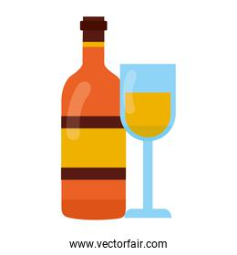 wine bottle and glass cup on white background
