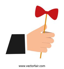 hand with bow in stick icon