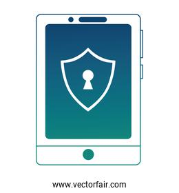 smartphone with shield virus icon