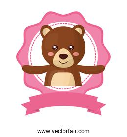 cute teddy bear with lace isolated icon