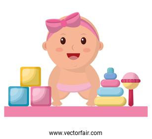 baby girl with diaper and toys isolated icon