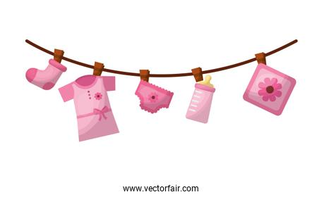 set baby girl accessories hanging icon