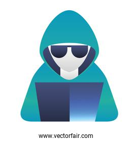 hacker with laptop character