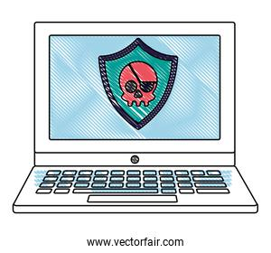 laptop computer with security shield and skull pirate