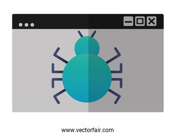 template windows with bug virus attack icon