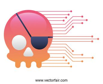 pirate skull virus attack with circuit electric