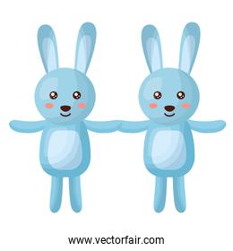 cute rabbits couple characters icon