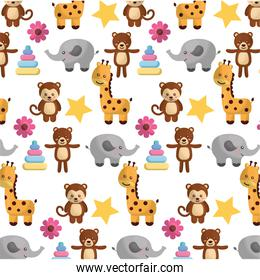 cutes animals wilds and toys for babys pattern