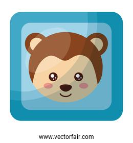 cute monkey face in button character icon