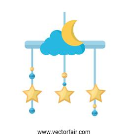 baby mobile with moon and stars hanging icon