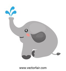 cute elephant with splash water icon