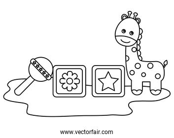 cute giraffe with blocks and bell character icon