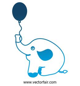 cute baby elephant sitting with balloon