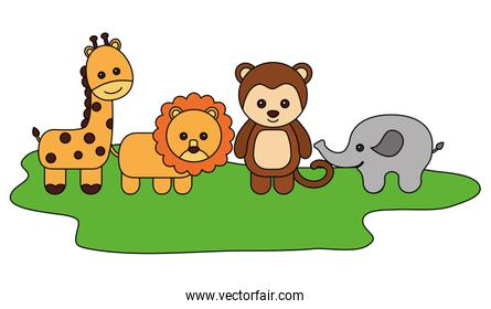 cutes animals wilds group character icon