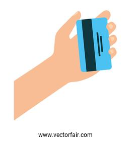 hand with credit card money icon