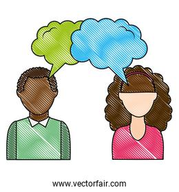 dialog between man and woman with text bubbles