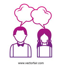 couple talking with speech bubbles