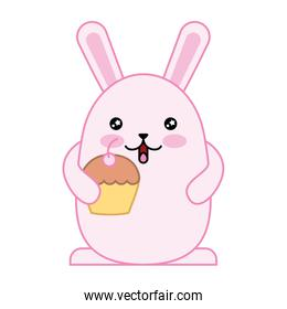 cute rabbit with delicious cup cake kawaii character